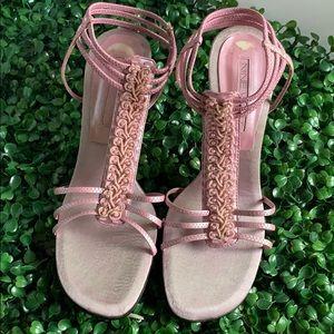 Nine West pink strappy heels